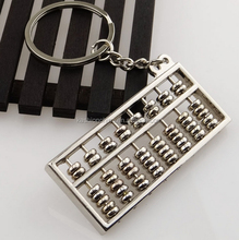 Chinese Style Accounting Special Purpose Tool Silvery 8 Rows Abacus Keychain Key Chain Ring Keyfob Keyring
