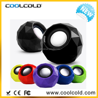 coolcold manual portable mini speaker for laptop, promotiona wire/wireless usb round mini speakers manual