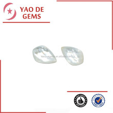 19*30mm White Opal Pear Shape Checkerboard Cut Gemstone Natural Agate Stone Wholesale