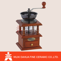 Hand powered promotional New Year Gift Practical 1 cup coffee bean grinder with crank Pottery Body coffee mill