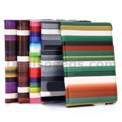 360 Rotating Rainbow Striped Smart Wake Sleep Flip Stand PC+PU Leather Case for iPad Mini 1 / 2 / 3