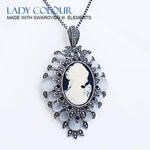W0353 Black Colour Pretty Girl Necklaces Zinc Alloy 18K Black-gun Rhodium Plated With Austria crystal & Opal Jewelry Wholesale