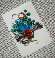 Rose pocket watch HB027 non-metallic temporary tattoo