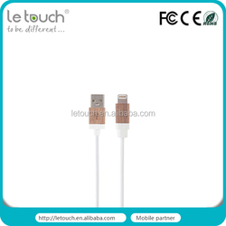 For iphone USB 3.1 Genuine leather with wooden connector braided usb cable