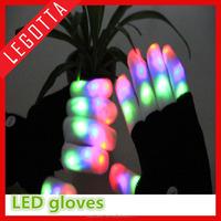 Amazine rainbow led flashing fiber optic rave light gloves for carnival party