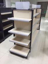 supermarket shelf with wooden backboard