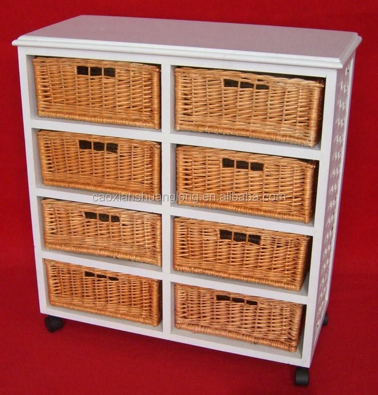 oak storage cabinet with wicker baskets 3