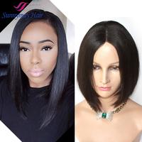 Free Shipping Stock Cheap 130% Density Brazilian Virgin Human Hair Silky Straight U Part Short Bob Lace Front Wigs