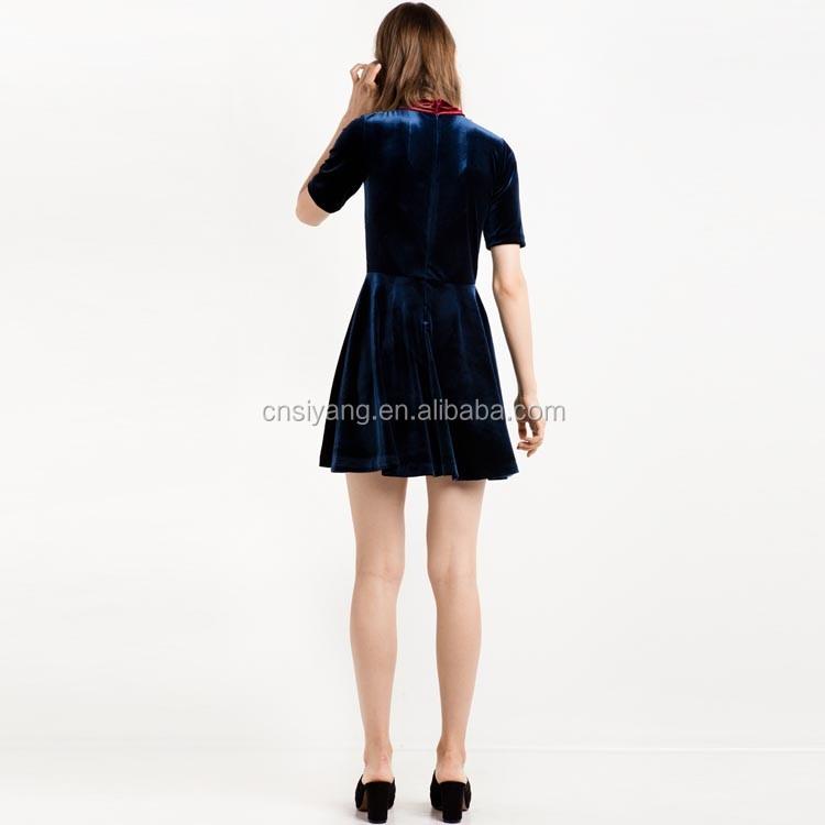 Marinha fit e flare vestido de veludo das senhoras desenhos de moda fabricantes