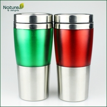 16oz 450ml Double Wall Plastic Stainless Steel Journey Travel Mug