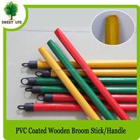 hot sales wooden broom stick poles handle 120cm length with plastic black hook