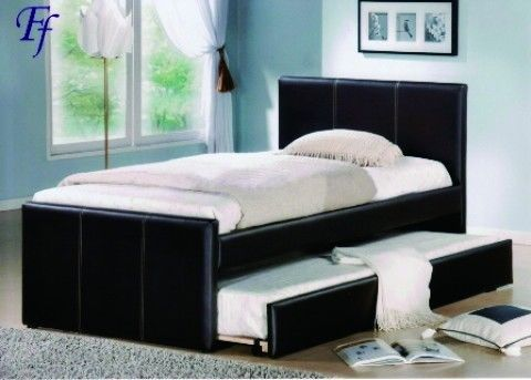 salon chambre meubles canap lit gigogne noir pu en cuir. Black Bedroom Furniture Sets. Home Design Ideas