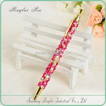 2015 Cute Crystal Click Ball Pen, Fashion Fancy crystal writing pen