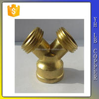 (2C-JELLY260) Y coupling fitting with valve Brass Gake Fire fighting pipe fittings hydrant accessories garden fitting