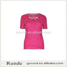 Estilo nacional bordar manga corta blusa para mujer tops de encaje