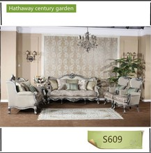 luxury silver edge living rooms furniture , sofa set, wood furniture
