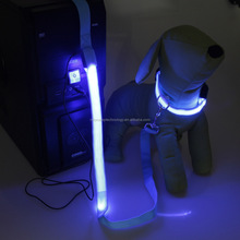 rechargeable flashing dog collar leash /flashing pet products