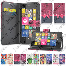 Printing owl butterfly leather wallet bag case for Nokia Lumia 630 owl case