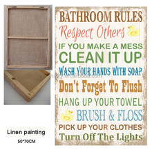 SIMPLE CUTE DESIGN BATHROOM RULES LINEN PRINTING FOR KIDS, ADORABLE WALL ART WHOLESALE