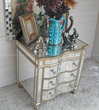 wooden carved mirrored night stand