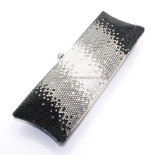 Fancy crystal wholesale leather clutch bag rectangle white and black for lady