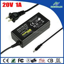 AC to DC adaptor 20V 1A universal power supply 100-240V 50/60Hz input
