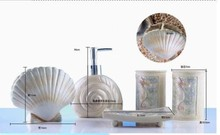 Resin seashell bathroom accessory for bathroom decor functional use