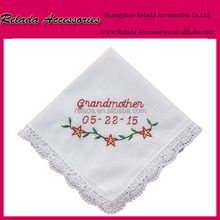 Wholesale custom printed embroidered handkerchief making a vintage handkerchief for grandmother gifts
