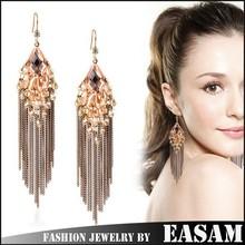 Cheap price bohemia big earrings,elegant link&chain tassel earrings,three colors crystal earring