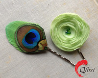 Handmade hair Pin wholesale lime green flower and peacock feather bobby pin set