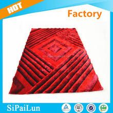 Beautiful design high quality 300D silk polyester crochet rug