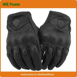 2015 Factory Wholesale goat leather motorbike leather gloves,full punch motorcycle glove