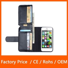 Wholesale Multi Function Top PU Leather Wallet Cell Phone Case for iPhone 5 5S