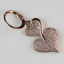 Promotion New Fashion Design Micro Zircon Pave Setting 18K Rose Gold Double Heart Earring
