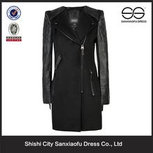 Winter Long Slim Fit Leather Sleeve Women's Coat, Coat Women, Clear Coat