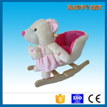 white and pink baby bear plush rocking chair with wooden base