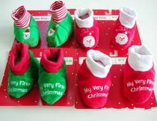 2014 nuevo diseño al por mayor de navidad de regalo adorable bebé lactante niños niño niñas calzado/prewalker zapatos