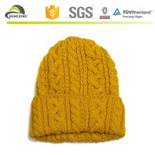 Custom yellow crochet plain knitted knit striped beanie