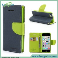 Goospery Fancy Diary Dual Color Wallet Flip Leather Mercury Phone Case for iPhone 5C