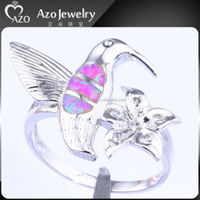 Cheap Animal Style 925 Sterling Silver Pink Fire Opal Bird Ring Jewelry