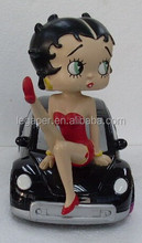 Promotional Wholesale Sexy Pose Resin Betty Boop with Motorcycle Figurines