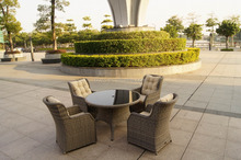 Outdoor rattan round dinning 4, garden glass table wicker chair furniture