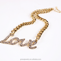 simple ane generous artificial gold plated letter love necklace jewelry for women