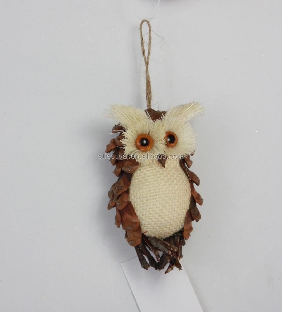 2015 pinecone 10cm hanging owl - Decoration avec des pommes de pin ...