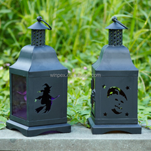 Color Glass Chimney Roof Metal Halloween Lantern With Halloween Series Pattern