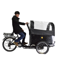 CE leisure Danish bakfiet 3 wheel cargo bike electric tricycle with roof for sale