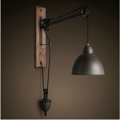 Barn pulley wall light vintage industrial cast iron wall - Suspension industrielle noire ...