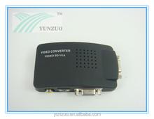 TV AV S -Video RCA Composite to VGA PC Monitor Black Plastic Casing Converter Adapter Box