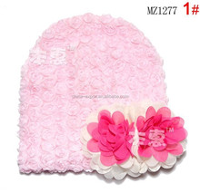 MZ1277 Hot sale rose flower baby beanie hats 2015