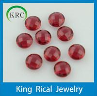 Wholesale price glass stone red round checkerboard cut glass stone